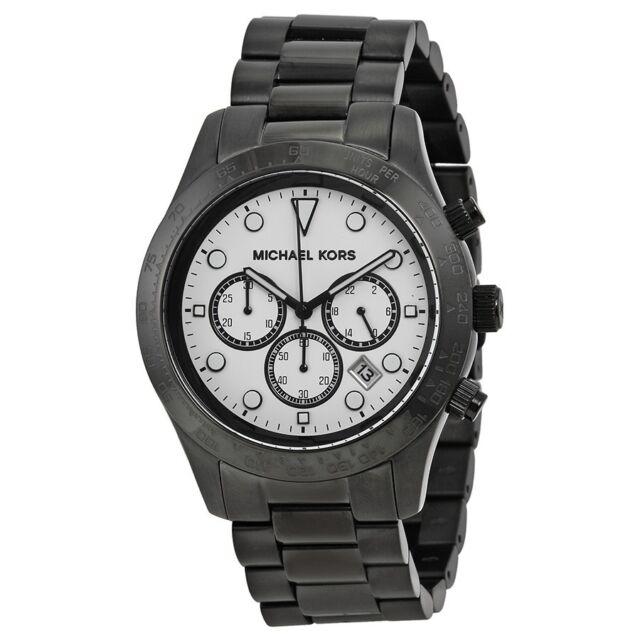 c381c22de4a6 Michael Kors Layton Chronograph White Dial Black Ion-plated Mens Watch  MK6083