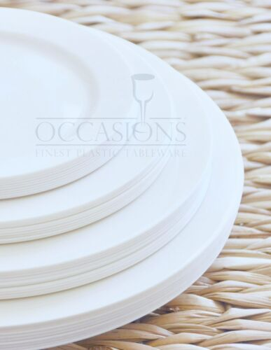 "Ivory  or White Plates /"" OCCASIONS /"" Wedding Party Plastic Disposable Bone"