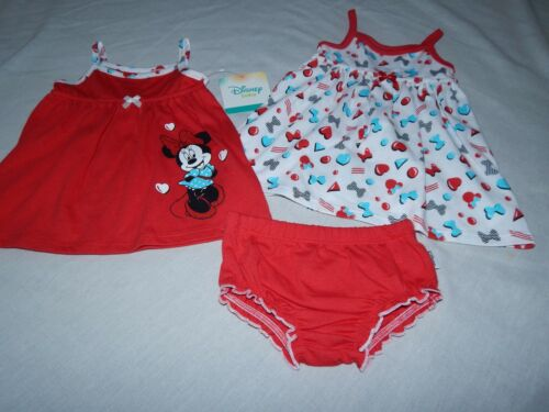 Details about  /Minnie Mouse Disney Baby 3 pcs Summer Sun Dress NEW Outfit Shorts Girls 0//3