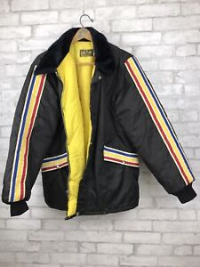Vintage Mens Timber King Black Racing Stripes Ski Jacket Coat Yellow Lining XL