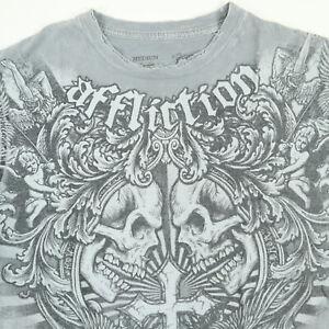 Affliction-T-Shirt-MEDIUM-Distressed-Soft-Thin-Skulls-Cross-Faded-Gray