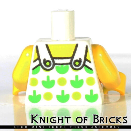 LEGO Minifigure Torso 399 WHITE Female Halter Top w Green Apples and Lime Spots