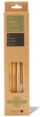 10 Bambù Naturale Bere Cannucce & Spazzola Di Pulizia-la Società Di Bambù Originali-