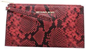 fce9b25c07bc Image is loading Michael-Kors-Bedford-Red-Python-Embossed-Leather-Large-