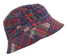 100% Cotton Reversible Bucket Hat-red/plaid