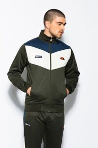 Ellesse-Men-s-Track-Top-Jacket-Zip-Up-Dark-Green-White-Chevron-Zip-Antonutti