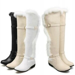 US-Women-039-s-Fur-Trim-Winter-Over-Knee-High-Boots-Warm-Snow-Boots-Solid-Size-34-44