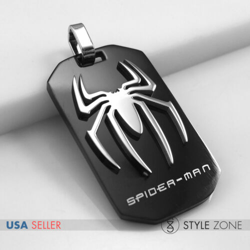 Stainless Steel Super Heros Avengers Spiderman Spider Logo Dog Tag Pendent 14X