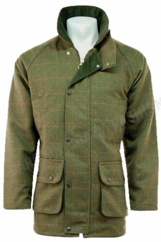 Mens Tweed Derby Wool Jacket Waterproof Breathable Warm Shooting Hunting S 4XL