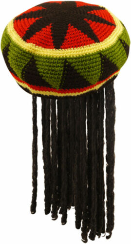 ADULT JAMAICAN RASTA HAT WIG WITH DREADLOCKS BOB MARLEY FANCY CARIBBEAN DRESS UK