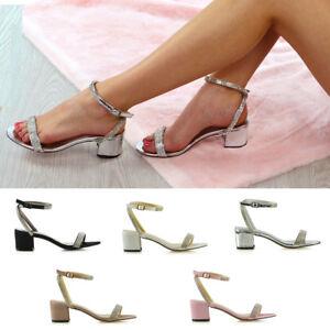 Womens-Ankle-Strap-Block-Low-Heel-Sandals-Ladies-Buckle-Diamante-Bridal-Shoes