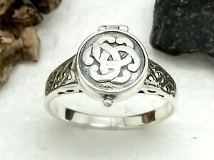 Keltischer-Knoten-Giftring-925-Sterling-Silber-Ring-Rundknoten-Keltenschmuck