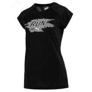 Puma-MANGA-CORTA-Drycell-Reflectante-Negro-Mujer-Running-Camiseta-515590-01