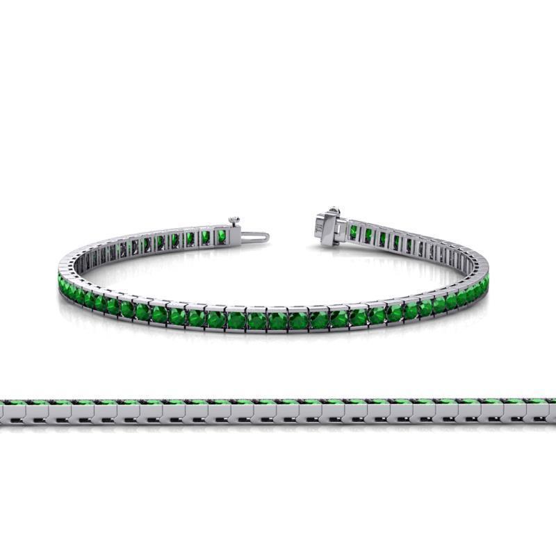 14K White gold Over 3.71CT Round Cut Emerald Tennis Bracelet For Women's