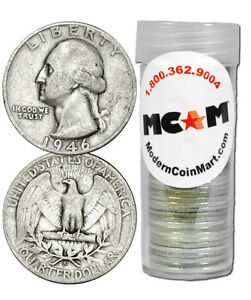$10 Face Roll - 40 Coins 90% Silver Washington Quarters Avg Circ 25c SKU32338