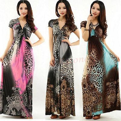 NEW Women's Boho Leopard Chiffon Maxi Dress Summer Beach Long Dress Sundress