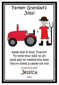 Image Is Loading Personalised Daddy Grandad Farmer Tractor Note Pad