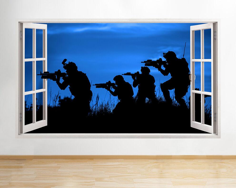 R054 Soliders Army Silhouette Notte Muro Finest adesivo da parete camera bambini