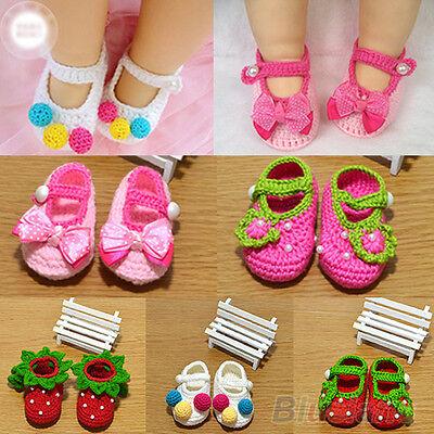 Hot Newborn Baby Infant Girls Crochet Knit Kintting Socks Crib Shoes 0-12 Months