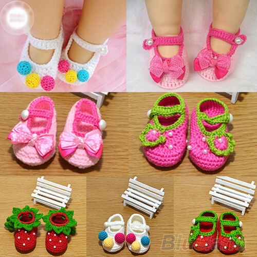 DURABLE NEWBORN BABY INFANT GIRLS CROCHET KNIT KNITTED CRIB SHOES 0-12 MONTHS
