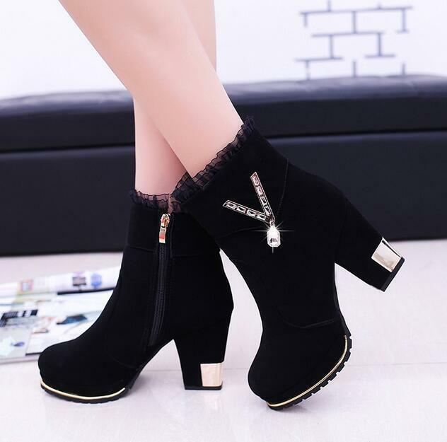 Womens Suede Ankle Boots Chunky High Heel Casual Shoes Rhinestones Round Toe New