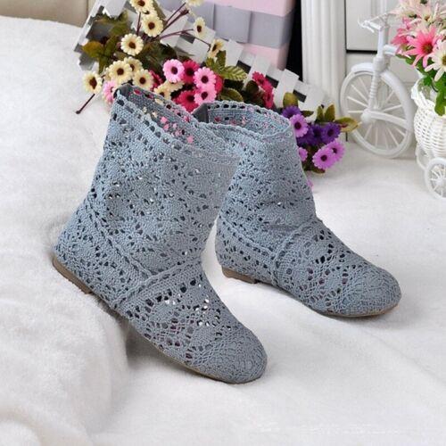 Mesh Womens Bohemian Summer Flat Cut Out Shoes Knitted Crochet Calf Short Boots
