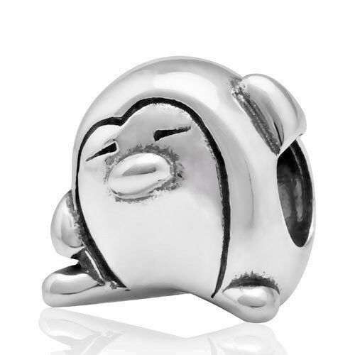 Penguin Charm Bead 925 Sterling Silver