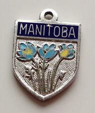 Vintage double sided MANITOBA Canada enamel silver travel souvenir shield charm