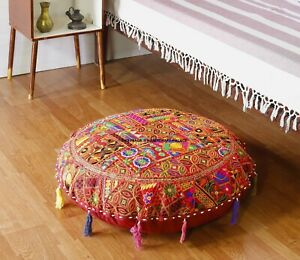 81.3cm Coton Sol Rond Coussin Housse Oreiller Indien Handmade Rouge Patchwork