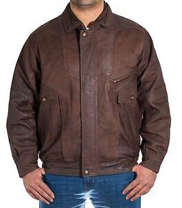 Details zu Herren Braun Italienische Vintage Leder Klassische Retro Bomber Blouson Jacke