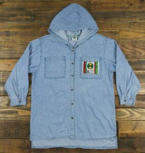 Vintage-90s-CROSS-COLOURS-Hip-Hop-Snap-Button-Blue-Denim-Hooded-Shirt-Size-3-USA