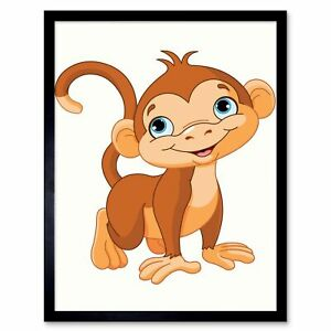 Baby Monkey Animal Children Cartoon Illustration 12x16 Inch Framed Art Print Ebay