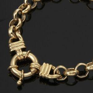 18K-Yellow-Gold-GL-Chunky-Solid-Women-039-s-Belcher-Bracelet-amp-Life-Buoy-Bolt-Clasp