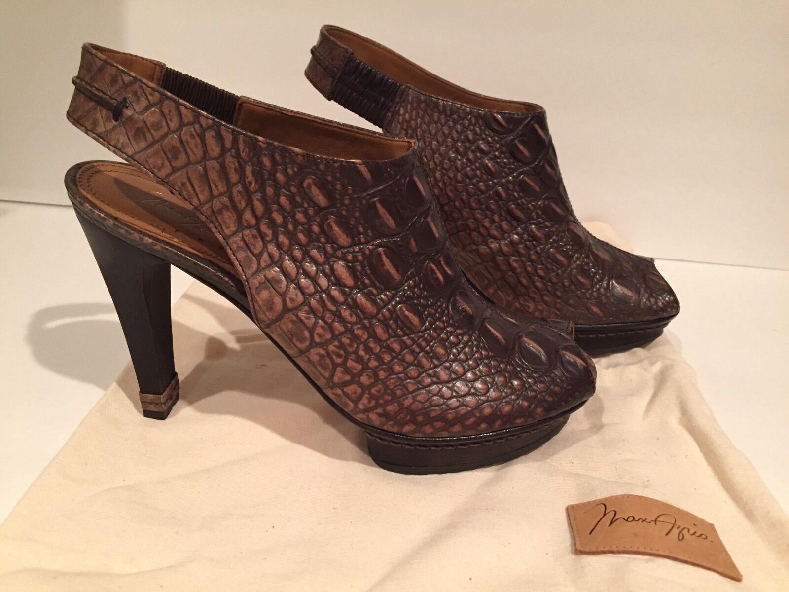 Max Azria Sandals Open Toe Leather Crocodile Slingbacks Brown 39.5 9 BCBG New