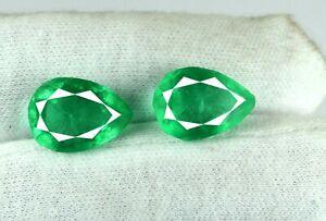 Pear Zambian Green Emerald Natural 12-14 Ct Gemstone Matching Pair AGI Certified