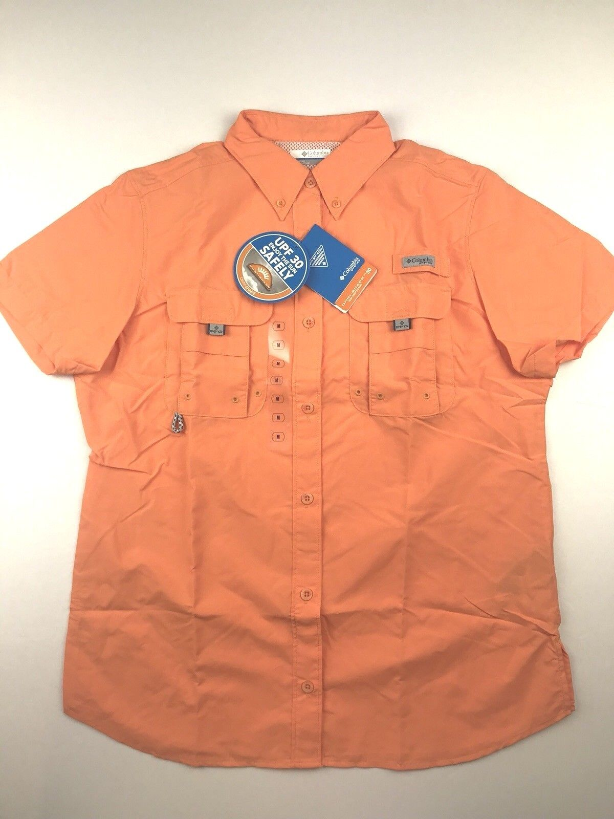 Columbia PFG Womens Medium Bahama orange S S Omni Shade Button Casual Shirt NWT