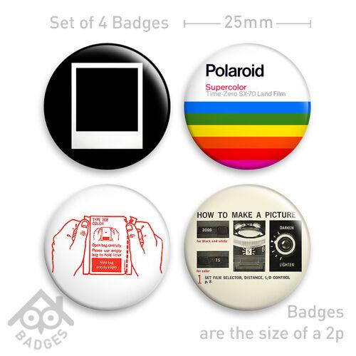 """POLAROID Camera SX-70 1000 RETRO Film - 1"""" Badge - Set of 4 x 25mm Badges"""