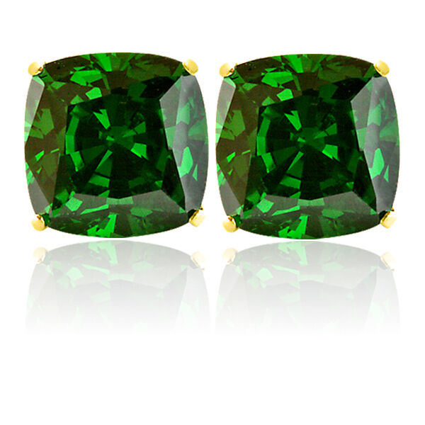 14k Solid Yellow Gold 3 03 Carat Cushion Cut Emerald Stud Earrings