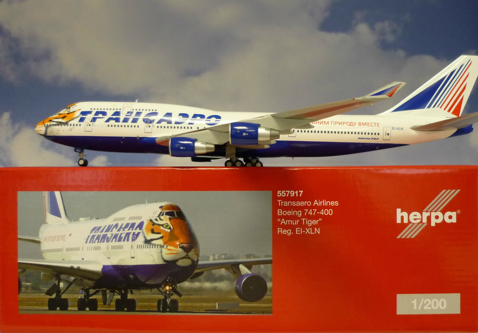Herpa Wings 1 200 Boeing 747-400 Transaero Airlines EI-XLN  557917  Metallmodell
