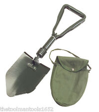 TEKTON Folding Survival Camping Shovel & Storage Pouch/Case Military Style NEW