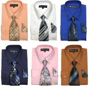 New-Men-039-s-Cotton-Blend-Dress-Shirt-with-Tie-and-Handkerchief-22-colors-21