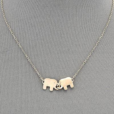 Gold Simple Double Elephant Pendant Chain Pendant Necklace