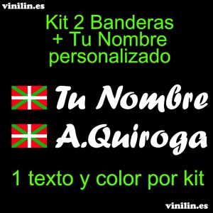 Ikurriña Pegatina Vinilo Bandera Pais Vasco Nombre Personalizado