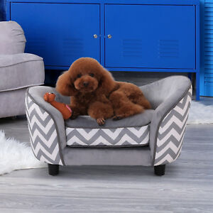 Pet-Sofa-Bed-Warm-Plush-Dog-Sleep-Couch-Portable-Bolster-Sides-Grey