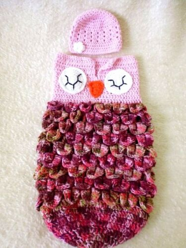 owl baby cocoon hand crochet cotton wool bamboo acrylic 0-6 months make to order