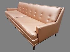 "PRICE CUT!  Vintage Mid-Century Kroehler 88"" Long Copper Vinyl Sofa"