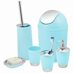 Image Is Loading Blue Bathroom Accessories Set Bin Toothbrush Tumbler Holder