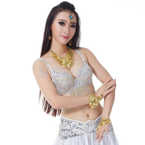 Luxury Belly Dancer Top Bra Sequin Beads Fringe Clubwear Performance Costumes