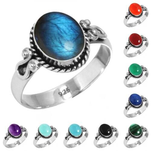 925 Sterling Silver Gemstone Ring Handmade Jewelry SZ 5 6 7 8 9 10 11 12 13 Qc0