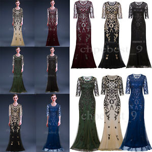 Prom-Gown-Dresses-Flapper-Dress-Evening-Wedding-Women-039-s-Party-Costume-Plus-Size